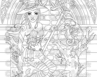 Digital Stamp - Printable Coloring Page - Fantasy Art - Witch Stamp - Adult Coloring - Alondra Version 2 - by Nikki Burnette - PERSONAL USE