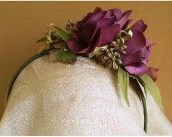 Plum floral head band flower wreath bridal faery fairy crown renaissance costume boho hair accessory