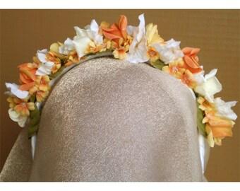 flower head band women's girls fashion accessory floral head wreath bridal crown faerie flowers renaissance costume