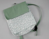 Green Sage Feeding Tube Backpack - Larger  - Custom Fabric Choices - Front Clear Front Pocket for Quick Pump Access