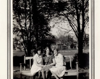vintage photo 1927 Young Flapper Era Gals all three sit on Park Bench Together
