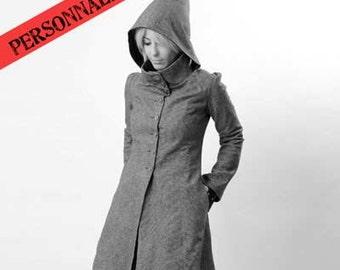 Custom womens coat, Hooded womens coat, Winter coat, Goblin hood winter coat, Made to order Custom hooded coat, womens hooded coat
