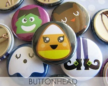 Halloween Buttons - 1 Inch Pinback (Set of 10) - Halloween Favors - Halloween Favor Bags - Halloween Crafts