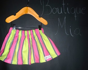 SAMPLE - Children Skirt - Pink and Green Stripe - Will fit Size  6 month to 24 month - by Boutique Mia - Ready To Ship
