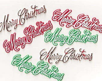 Merry Christmas / Kitschy Plastic Cake Toppers / Six Items / Three Color Variations / Script / Faux Gingerbread House
