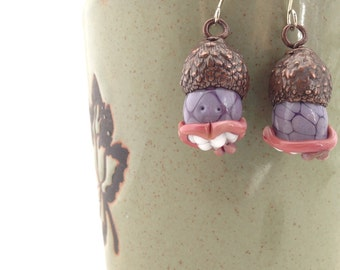 Electroformed Tree Meanie Glass and Copper Earrings Purple