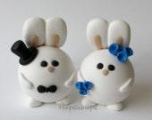 Custom Round Bunny Wedding Cake Topper