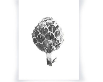 Watercolor Artichoke Black And White Print, Home Decor Food Watercolor Artichoke, Watercolor Food Art, Black And White Food Art Print