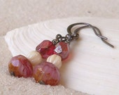 Bead Jewelry - Glass Bead Earrings - Dangle Earrings - Pink Earrings - Glass Beaded Jewelry - Beaded Dangle Earrings - Drop Earrings