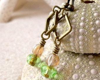 Lightweight Earrings - Antique Brass Earrings - Women's  - Green Earrings - Dainty Earrings - Tiny Green and Champagne Glass Bead Earrings