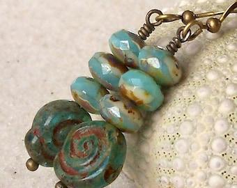 Glass Beaded Jewelry - Glass Bead Earrings - Aqua and Teal Earrings - Teal and Aqua Earrings - Antique Brass and Bead Earrings - Dangle