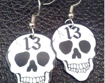 13 Skull guitar pick earrings