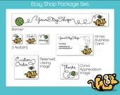 Etsy Shop Design Banner Avatar Business Card Set Kitty Knitting