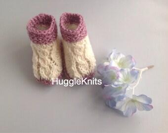 New Baby Shower Gift - New Baby Slippers in Irish wool mix - Irish Aran