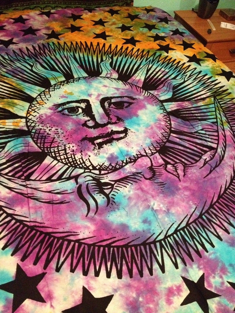 Boho hippie tapestry fabric sun and moon tie dye for Sun and moon fabric