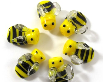 Lampwork bee beads, Handmade Lampwork bead glass, Lampwork beads set, yellow and black bee beads (6) SRA