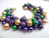 Purple Kelly Green and Gold Bracelet, Mardi Gras Jewelry, Cluster Bracelet, Pearl Bracelet, Chunky Jewelry, Purple Bracelet, Gift for Woman