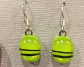 Chartreuse and black dichroic fused glass earrings