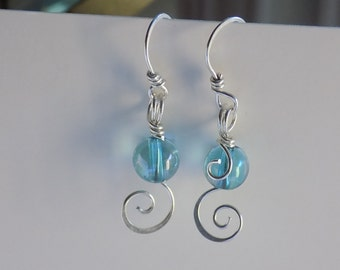 Sterling Silver Aqua Aura Quartz Round Beads Earrings Sterling Silver Wire Wrapped Handmade Jewelry Dangle Swirl Earrings Free USA Shipping