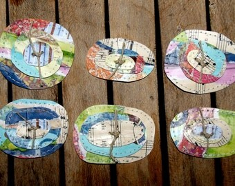 Set of Six Funky and Fun Paper Posie's/FlowersSet D