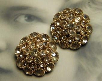 Judy Lee Vintage Swarovski Crystal Clip On Earrings