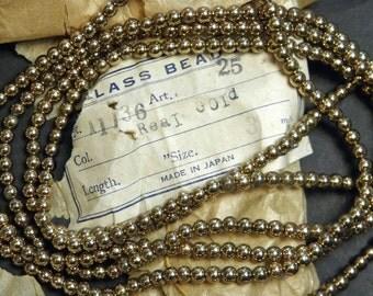 "Vintage Japan Gold Mercury Glass Garland Beads 58"""