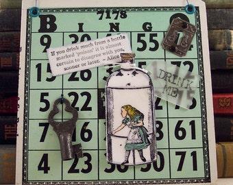 Alice in Wonderland Collage on Vintage Bingo Card - Drink Me Bottle Mixed Media - Alice in Wonderland Wall Hanging - Altered 3D Assemblage