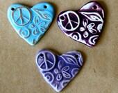3 Sweet Ceramic Peace Heart Pendant Beads in 3 unique glazes