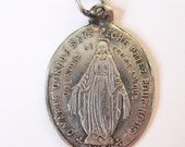 Antique Thin Sterling Silver Small Miraculous Virgin Mary French 1900 Religious Medal Charm Pendant