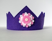 Wool Felt Crown -- violet with pink and white flower
