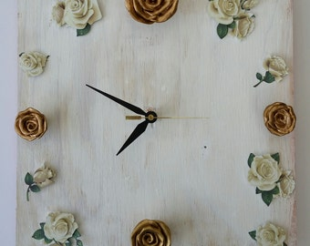 Rustic Vintage Inspired Clock with Ceramic Roses and Paper Roses Wall Art Gift Home Decor Roses Wedding Gift