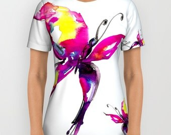 "Pink Butterfly Shirt  Ladies, Men's Unisex Shirt, Butterfly Watercolor Painting,  ""Butterfly Song No. 9"" by Kathy Morton Stanion  EBSQ"