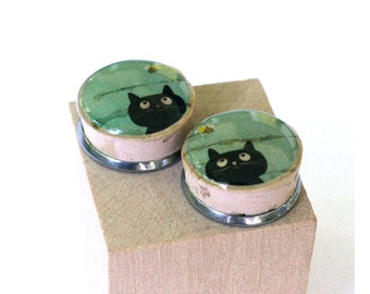 Black Cat Earrings, Cat Jewelry, Gift for Cat Lover, Lucky Cat, Cork Post Earrings, Recycled Earrings, Stud Earrings, Wine Cork Jewelry