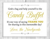 Grab a Bag and Help Yourself to the Candy Buffet 8x10 Printable Wedding Sign - Black and White and Gold - Instant Digital Download