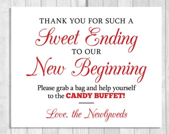 Party ending banner etsy sale sweet ending to our new beginning 8x10 printable black and red wedding candy buffet sign stopboris Choice Image