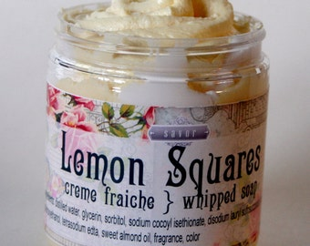 Lemon Squares 8 oz Creme Fraiche Whipped Soap
