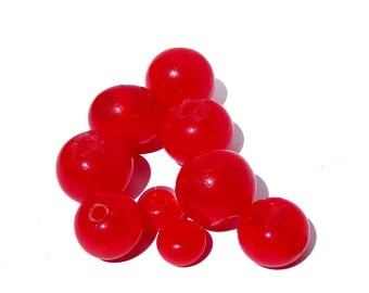 Handmade Lampwork Glass Round Beads maraschino cherry red