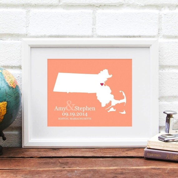 Massachusetts State Map Wedding Gift, New England Bridal Shower Gift, Gay Wedding Gift, Engagement Gift, First Anniversary Paper Gift