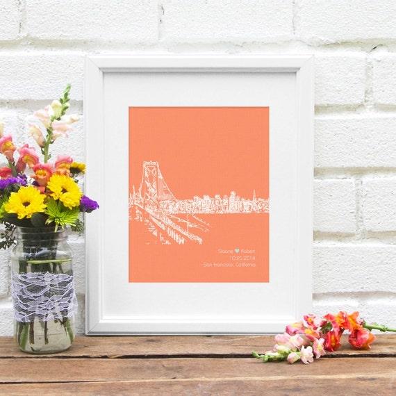 San Francisco City Skyline, Wedding Gift City Skyline, Bridal Shower Gift, Honeymoon Keepsake, City Skyline, First Anniversary Gift- 8x10