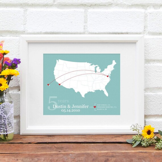 Personalized Anniversary Gift, Long Distance Custom Life Travel Map, Cross Country Travels, Personalized US Map Gift - 8x10 Art Print