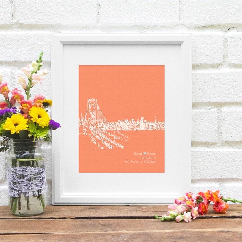 Wedding Gift Bags San Francisco : San Francisco City Skyline Wedding Gift City by NearAndDearDesigns