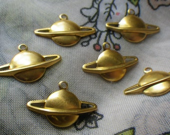 Swiftly Tilting Planet Saturn Stampings 22x14mm 6 Pcs