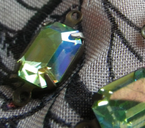 Swarovski Vintage Peridot AB 10x8mm Glass Octagon Brass Ox ...