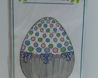 """Sale Easter Egg Stamp - clearance stamp - Class Act Inc. """"Polka Dot Egg"""" Cling Stamp"""