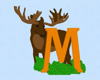 Letter M is for Moose machine embroidery design file