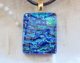 Fused Glass Pendant, Dichroic Pendant, Glass Jewelry, Blue, Green, Necklace Included