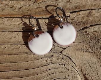 Handmade Enamel on Copper Earrings, Copper Enamel Disc Earrings, White Enamel Copper Earrings, Simple Dangle, Dot, Circle, Rustic (#140)