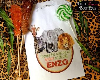 Personalized Jungle Safari Favor Bags, Safari candy bags, Zoo Favor bags,Jungle Safari birthday party, African Safari party