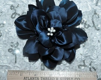 Royal iridescent  hair/hat flower.. formal,  pearls, wedding, bridesmaids, flower girl,pageant..  clip on back