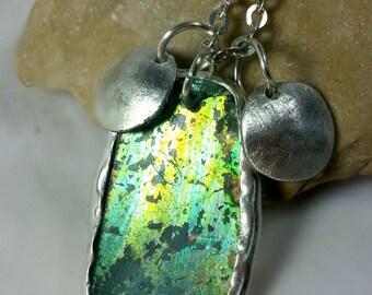 Roman Glass Petal Necklace, Pendant,silver and  Roman Glass Necklace, Roman glass and sterling silver necklace